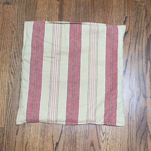 Tan and Red Striped Pillow Cover
